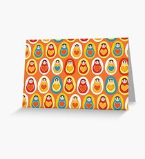 Russian dolls matryoshka orange blue red yellow Greeting Card