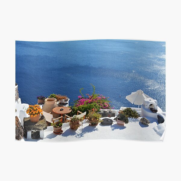 28.09.2016 Photography of traditional and famous houses and churches with blue domes over the Caldera, Aegean sea in Santorini island, Greece. Poster