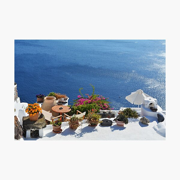 28.09.2016 Photography of traditional and famous houses and churches with blue domes over the Caldera, Aegean sea in Santorini island, Greece. Photographic Print