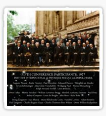 1927 Solvay Conference (spacetime bg), posters, prints Sticker