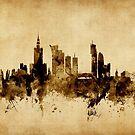 Warsaw Poland Skyline by Michael Tompsett