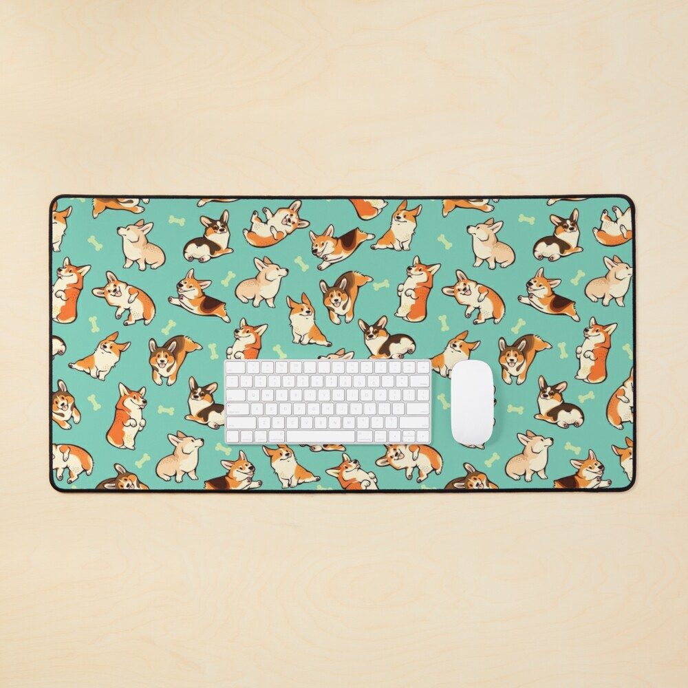 Jolly corgis in green Mouse Pad