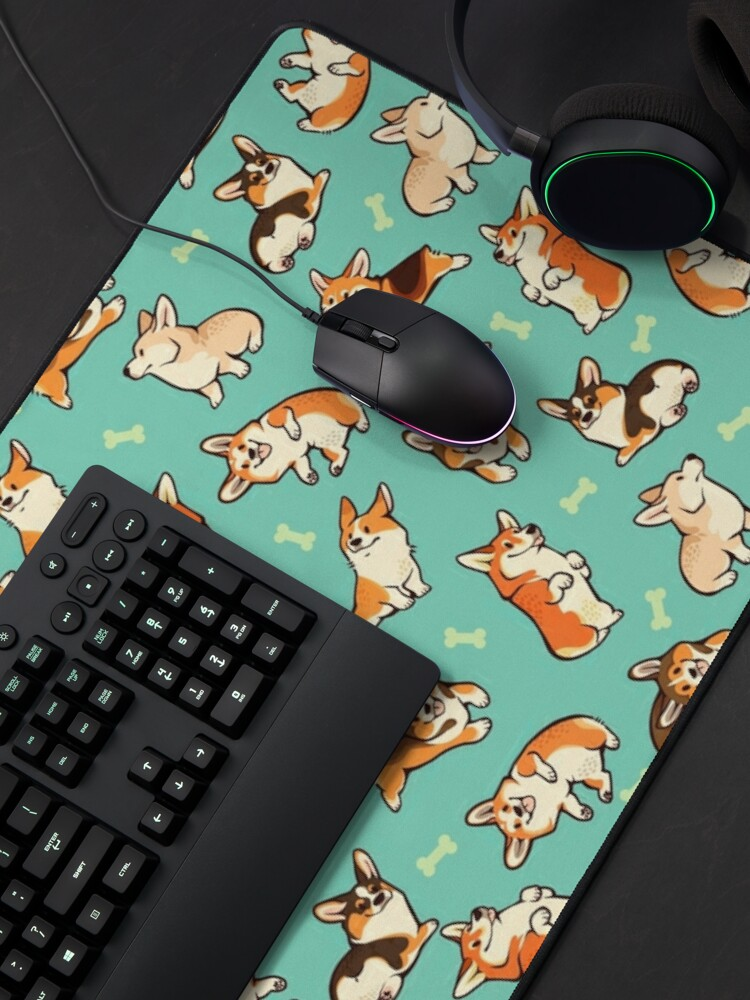 Alternate view of Jolly corgis in green Mouse Pad