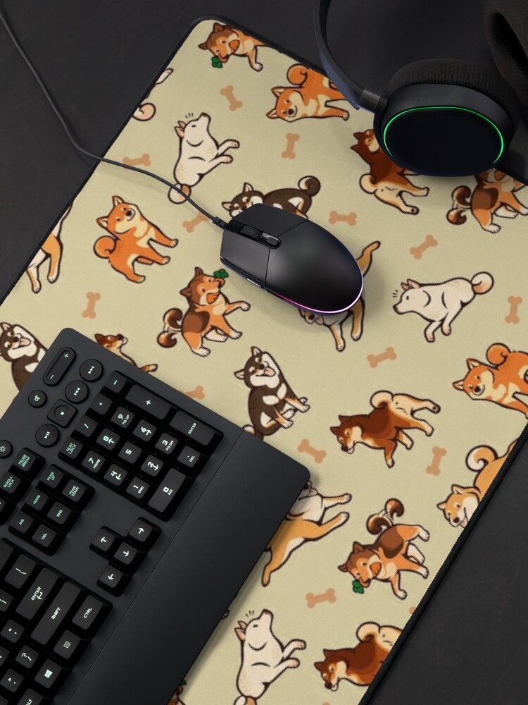 Alternate view of shibes in cream Mouse Pad