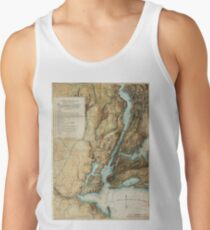 Camisetas de tirantes para hombre Vintage Map of New York City Harbor (1864)