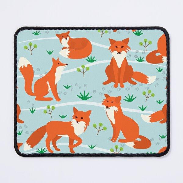 Fox poses blue BG pattern Mouse Pad