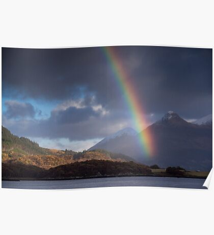 Rainbow at Kinlochleven, and the Pap of Glencoe, Scotland Poster