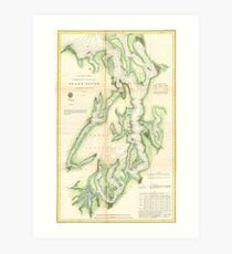 Vintage Map of The Puget Sound (1867) Art Print