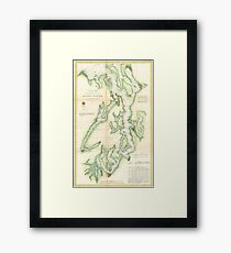 Vintage Map of The Puget Sound (1867) Framed Print
