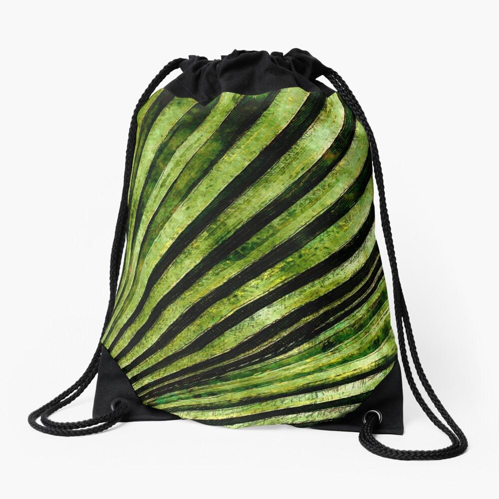 Green Palm Tree Frond Drawstring Bag