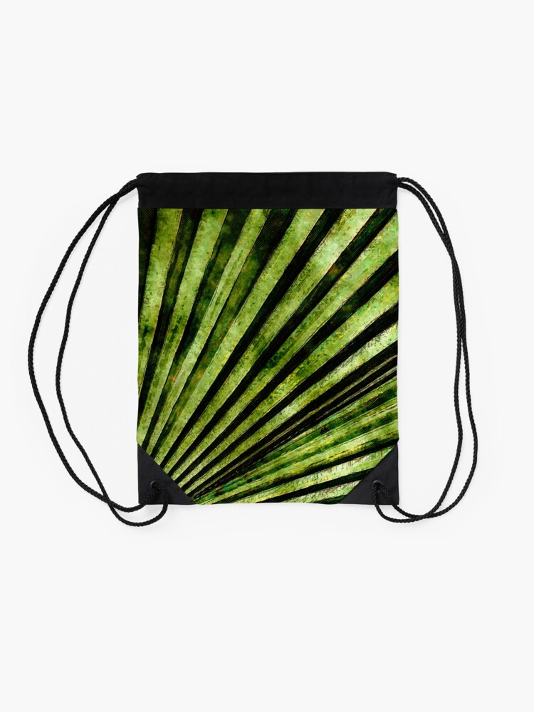 Alternate view of Green Palm Tree Frond Drawstring Bag
