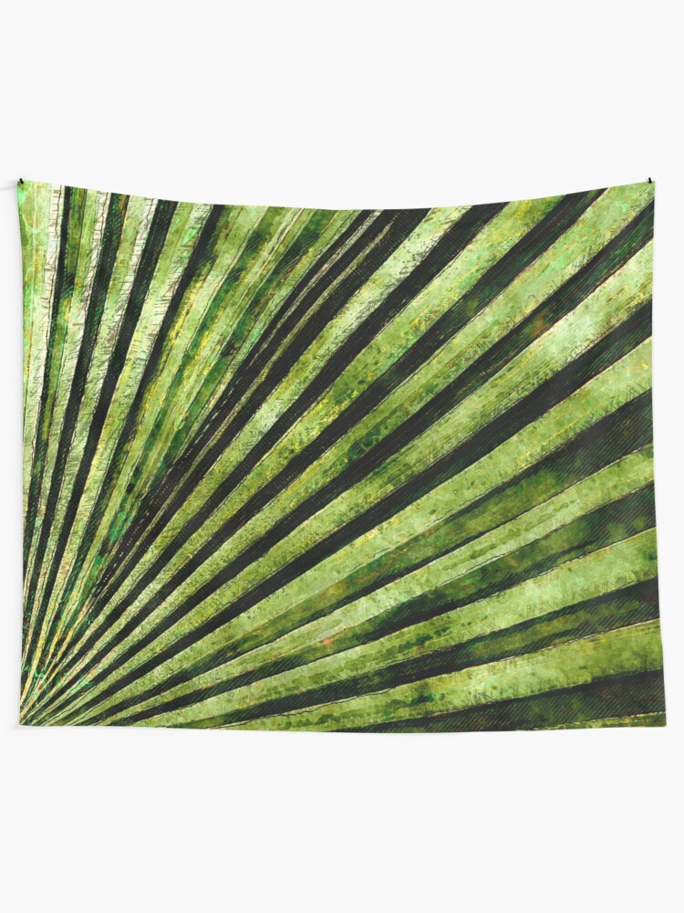 Alternate view of Green Palm Tree Frond Tapestry