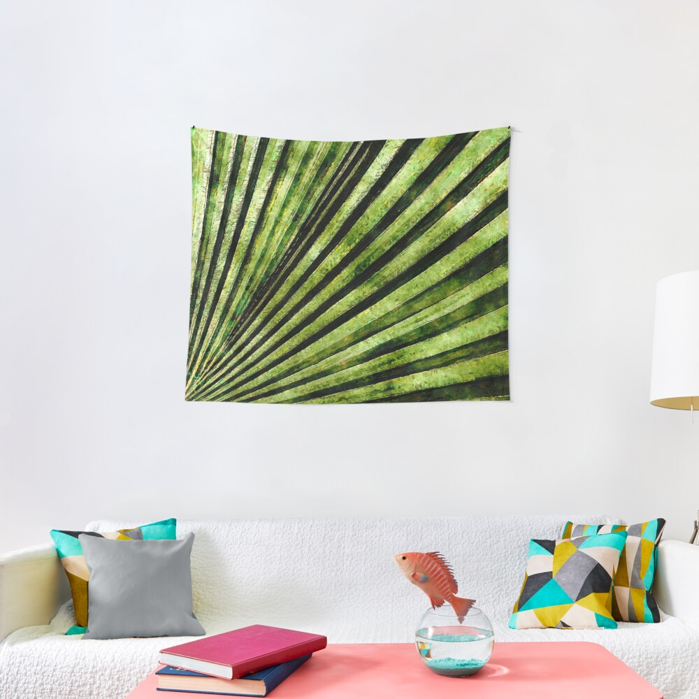 Green Palm Tree Frond Tapestry