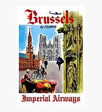IMPERIAL AIRWAYS; Fly to Brussels Vintage Advertising Print Photographic Print