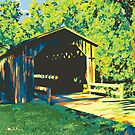 Historic Covered Bridge - Cedarburg WI (bold) SQUARE by katherinepaulin