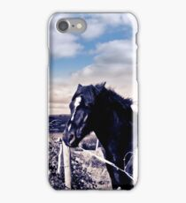 pair of wild Irish horses and ancient round tower iPhone Case/Skin