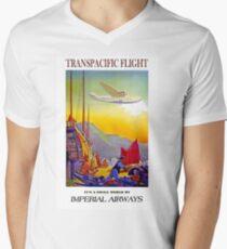 IMPERIAL AIRWAYS; Vintage Transpacific Flight Print Men's V-Neck T-Shirt