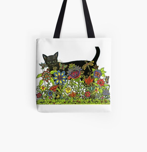 BLACK CAT with FLOWERS AND FRIENDS  All Over Print Tote Bag