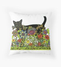 BLACK CAT with FLOWERS AND FRIENDS  Throw Pillow