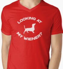Are you looking at my wiener? Men's V-Neck T-Shirt
