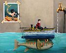 """Anyfin Is Possible"" - Fisherman toy boat and Mermaid still life painting by LindaAppleArt"