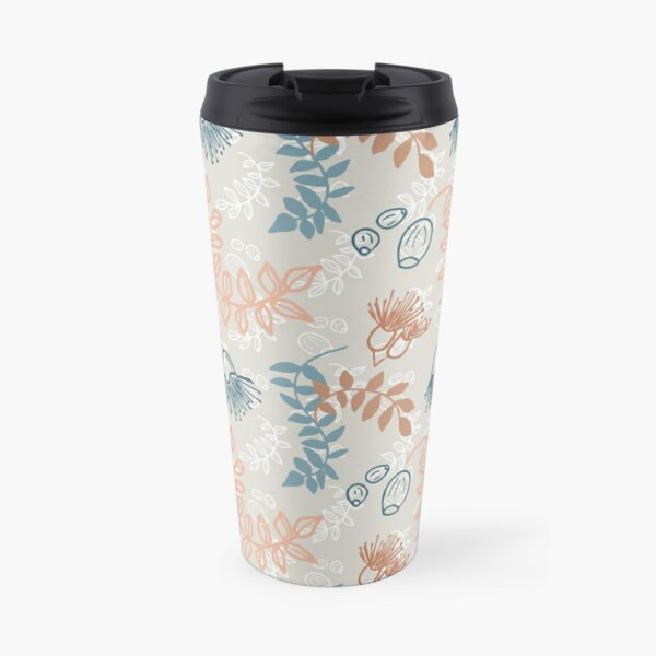 Simple nature, leaves, flowering gum and gum nuts pattern - eco friendly, nature based Travel Mug