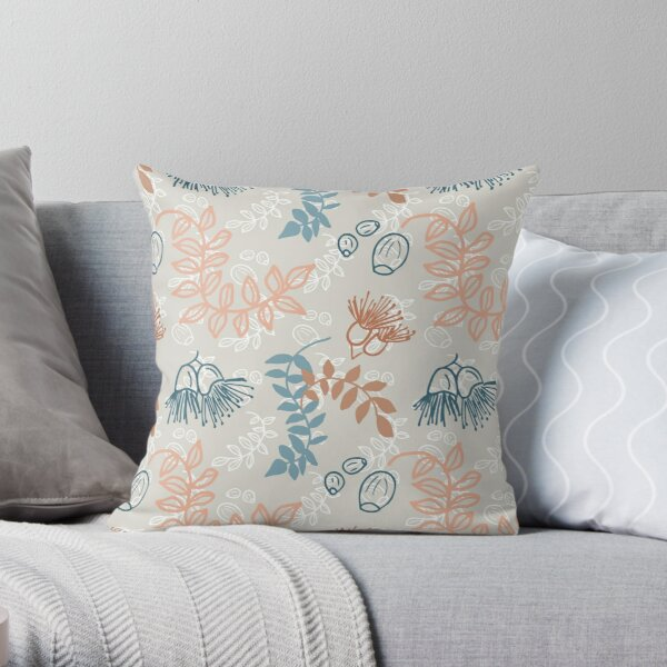 Simple nature, leaves, flowering gum and gum nuts pattern - eco friendly, nature based Throw Pillow