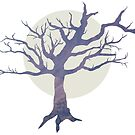 Spooky Tree Silhouette and Moon von Laura Redeker