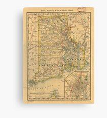 Vintage Map of Rhode Island (1875) Canvas Print