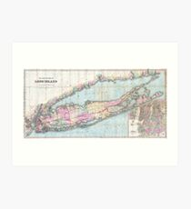 Vintage Map of Long Island (1880)  Art Print