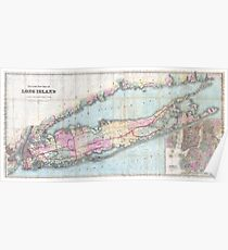 Vintage Map of Long Island (1880)  Poster