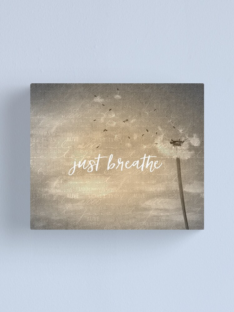 Alternate view of Just Breathe Quote with Dandelion Canvas Print