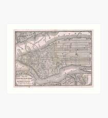 Lámina artística Mapa vintage de la ciudad de Nueva York (1886)
