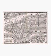 Lámina fotográfica Mapa vintage de la ciudad de Nueva York (1886)