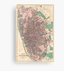 Vintage Map of Liverpool England (1890) Canvas Print