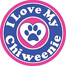 I LOVE MY CHIWEENIE DOG HEART I LOVE MY DOG PET PETS PUPPY STICKER STICKERS DECAL DECALS by MyHandmadeSigns