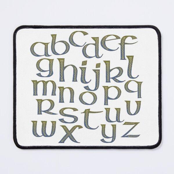 Celtic Knotwork Half Uncial Alphabet Abecedary Mouse Pad
