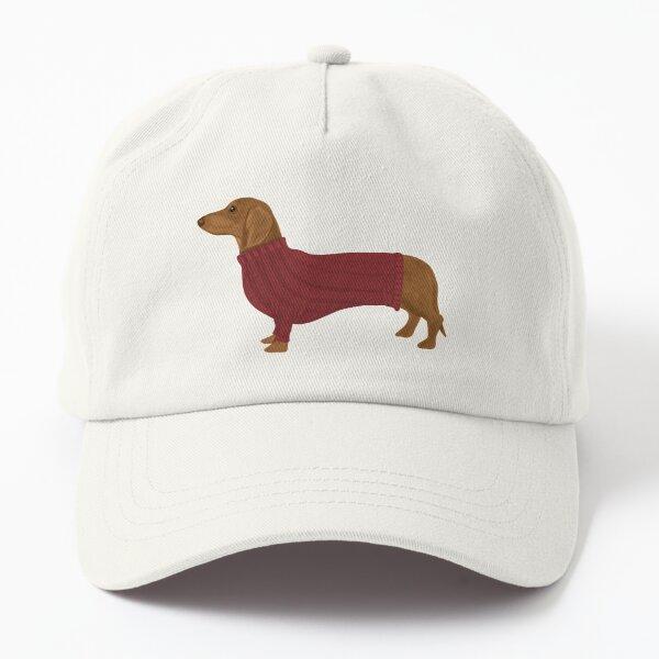 Dachshund in Red Jumper Dad Hat