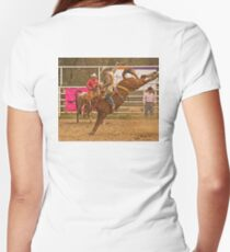 Rodeo A Wild Horse Kicks Its Back Legs High in the Air Women's Fitted V-Neck T-Shirt