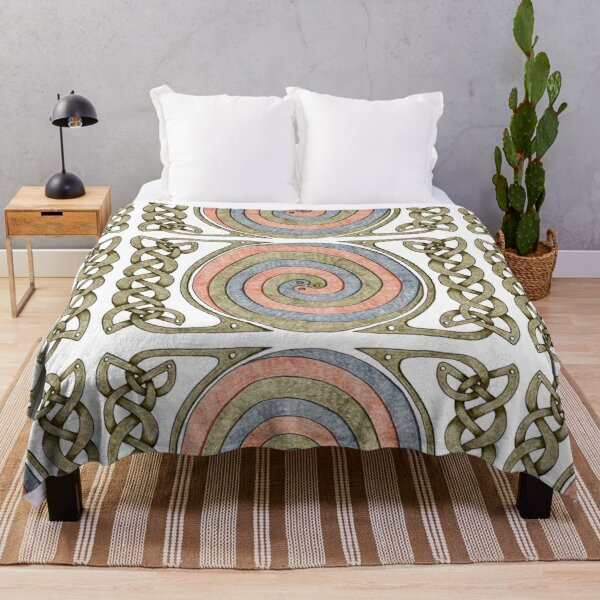 Celtic Spirals and Border - Earth Tones Throw Blanket