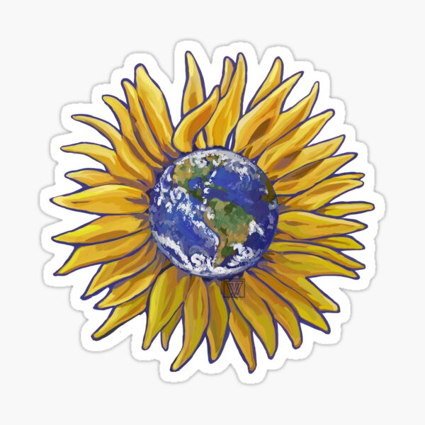 Sunflower Earth Sticker