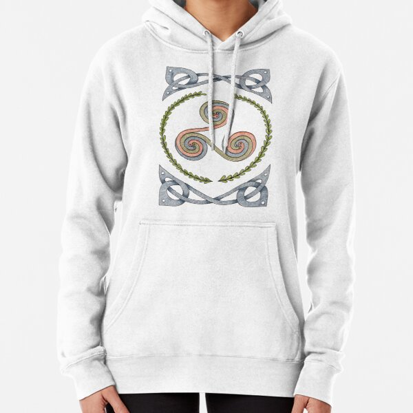 Triskelion and Celtic Border - Earth Tones Pullover Hoodie