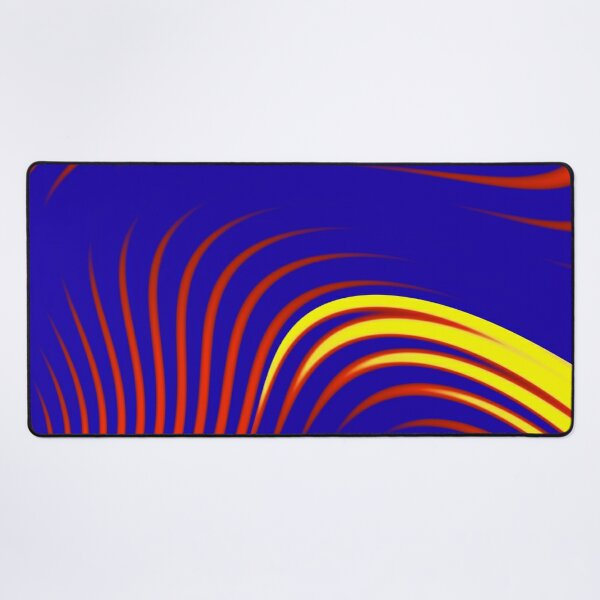 Abstract print  geometric  design with colorful gradient stripes and waves, blue, red, yellow Desk Mat