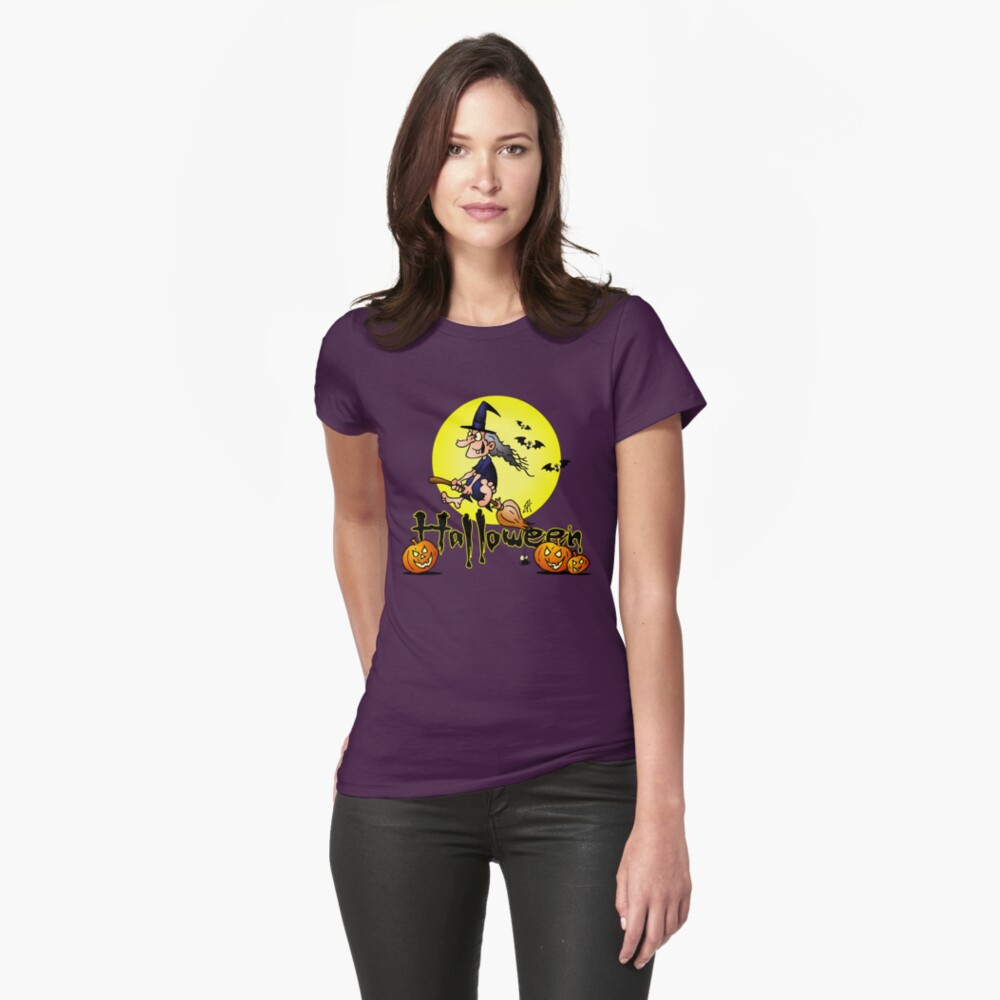 Halloween, witch on a broom, bats and pumpkins Fitted T-Shirt