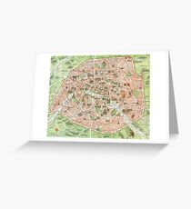 Vintage Map of Paris (1920)  Greeting Card