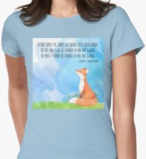Little Prince fox quote, text art Womens Fitted T-Shirt