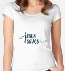 Jesus Saves - Prayer Journals and Mugs Women's Fitted Scoop T-Shirt
