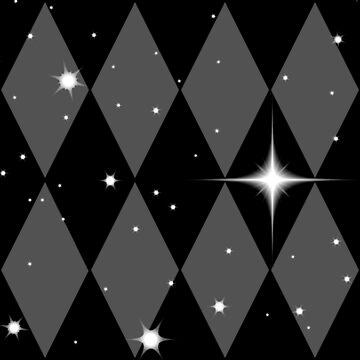 Black n Gray Diamonds With Stars Pattern by Harleythemk