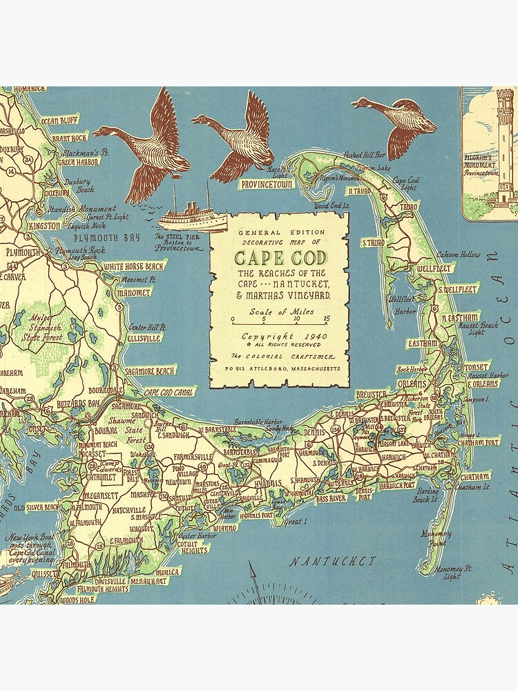Vintage Map of Cape Cod (1940) by BravuraMedia