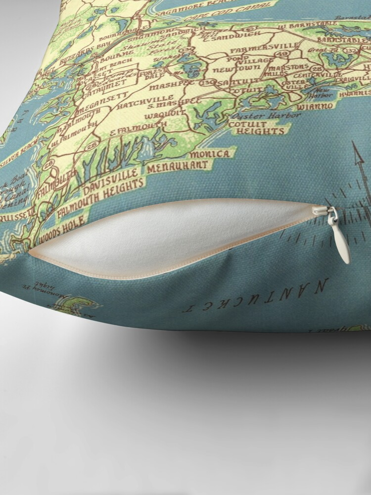 Alternate view of Vintage Map of Cape Cod (1940) Throw Pillow